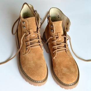 Feel全皮复古潮英伦风马丁靴短靴女春夏女靴学生工装靴情侣靴粗跟