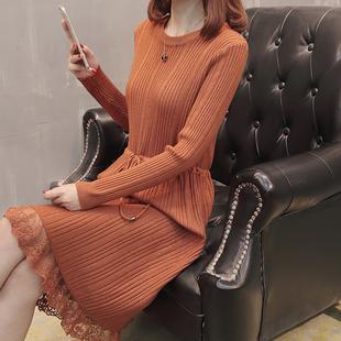 长款蕾丝毛衣裙过膝打底衫针织连衣裙套头毛衣女2019春季