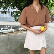春夏韩国女装学院风百搭宽松翻领纯色单排扣短袖衬衫女上衣