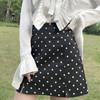 夏季女装波点小清新开叉高腰显瘦学生A字包臀半身裙短裙