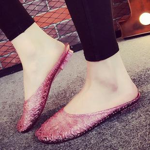 夏季浴室拖鞋水晶果冻鞋家居家女室内包头塑料橡胶防滑凉拖鞋