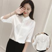 中袖棉麻衬衫女2018夏季立领纯色百搭五分袖白色衬衣上衣