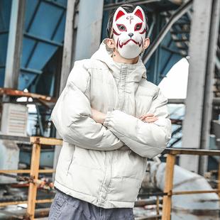 日系男装纯色连帽棉衣男短外套加厚保暖面包服带帽棉服男潮流
