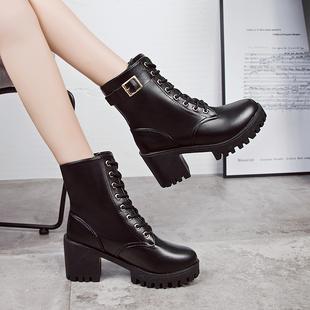 马丁靴女英伦风裸靴子女短靴粗跟中筒靴百搭高跟女靴冬季女鞋