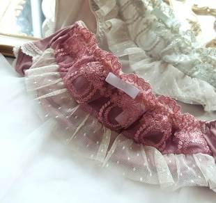 小奢华复古蕾丝雪纺拼接纯棉档细腻牛奶丝无痕底边三角内裤