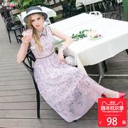 2件减20无袖碎花连衣裙粉色收腰a字裙印花雪纺长裙子夏