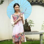 原创中式长袖连身裙定位花连衣裙袍子仙气立领盘扣双层长衫