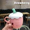 卡通草莓水杯创意陶瓷杯带盖带勺可爱少女学生马克杯子办公室