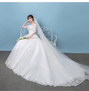 一字肩婚纱礼服2018韩式新娘拖尾长袖蕾丝齐地大码秋冬婚纱轻