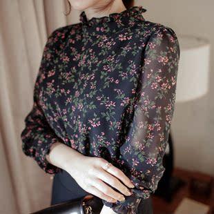2018春装碎花雪纺衫长袖宽松立领衬衫女士大码上衣打底衫