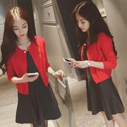 短款毛衣薄红色开衫女针织衫春秋圆领小外套长袖披肩斗篷