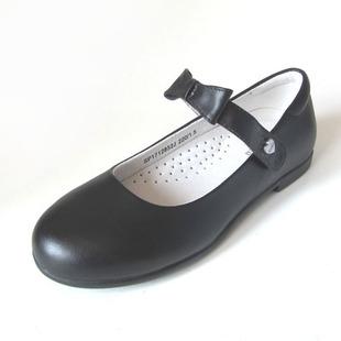 斯乃纳童鞋 2018秋款女大童学生皮鞋表演鞋牛皮黑皮鞋