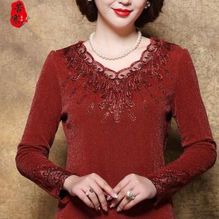 妈妈秋冬装长袖蕾丝加绒打底衫婚礼高贵中老年加厚洋气保暖上衣女