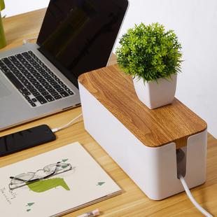 仿柚木纹盖插座收纳盒理线器电脑集线器插线板收纳盒韩国集线盒