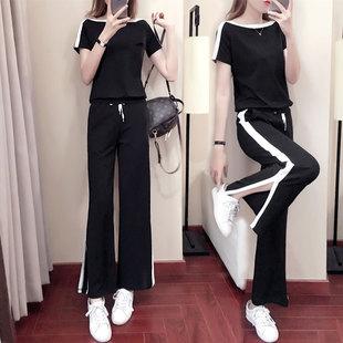 夏季阔腿裤套装女2018时尚宽松短袖运动服套装女士两件套