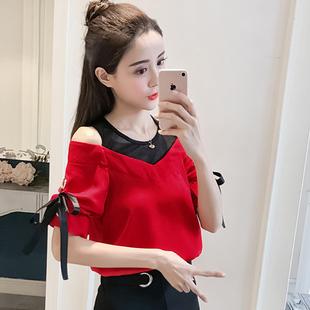 2019夏季圆领套头短袖雪纺衫女装气质蝴蝶结网纱拼接露肩上衣
