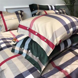 墨绿色纯棉贡缎条纹格子四件套简约英伦风男生全棉五件套床上用品