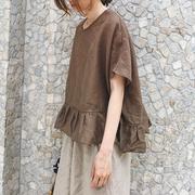 2019春夏女日系大码荷叶边棉麻娃娃衫亚麻宽松蝙蝠袖短袖衬衫