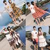 沙滩情侣装海边套装2019班服民族风男T恤海滩裤夏季女连衣裙