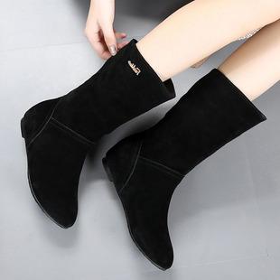 2018春秋季女靴子平跟马丁靴真皮单靴中筒靴秋冬磨砂皮平底靴