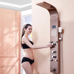 卫生间挂墙式淋浴屏花洒套装卫浴恒温全铜水龙头洗澡神器增压喷头