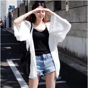 防晒开衫2018夏季中长款雪纺长衫披肩纱衣披风薄款上衣女