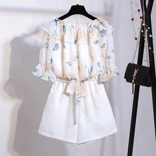 2018夏装时尚套装两件套女夏一字肩雪纺衫洋气短裤小清新