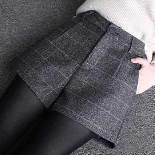 格子毛呢短裤女秋冬2018a字宽松外穿黑色阔腿呢子靴裤
