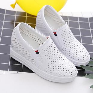 春夏镂空透气小白鞋女内增高厚底百搭一脚蹬网鞋坡跟单鞋女鞋