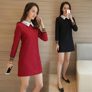 刺绣女装打底长衫气质显瘦薄款加绒款蕾丝连衣裙长袖