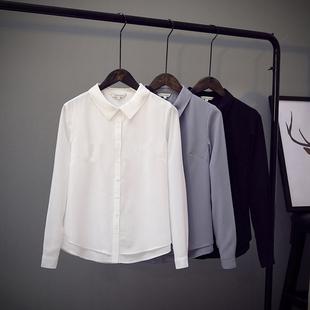 春季文艺通勤方领柔美精细双层雪纺白衬衫女长袖垂感免烫chic上衣