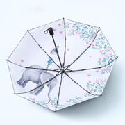 文艺小清新太阳伞女超强防晒防紫外线遮阳伞折叠晴雨两用黑胶雨伞
