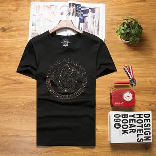 夏季美杜莎社会精神小伙男短袖T恤烫钻圆领潮牌大码半袖