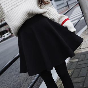 高腰太空棉半身裙女秋冬a字裙大码百褶裙显瘦蓬蓬伞裙短裙子