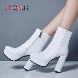 欧美短靴女春秋单靴防水台粗跟马丁靴显瘦百搭踝靴真皮白色女靴潮