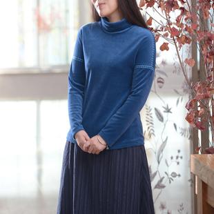 图雅衣香 原创女装天鹅绒民族风保暖改良唐装高领长袖卫衣打底衫