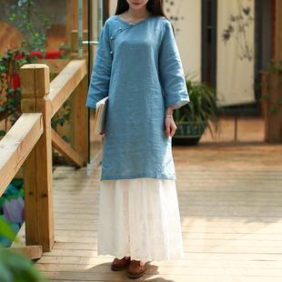 衬衫女夏季中长款纯色上衣中式女装复古宽松大码衬衣棉麻长衫