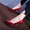 防水台女高跟鞋细跟夜店漆皮鞋女超高跟浅口单鞋尖头红色婚鞋