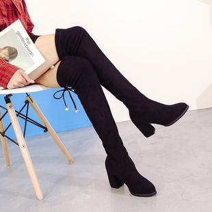 长靴女过膝秋季2018百搭粗跟长筒靴黑色女靴子高筒高跟靴
