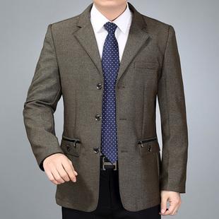 春秋中年男夹克男士西装领外套商务男装中老年男式茄克上衣