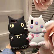 布鲁诺黑猫苹果X手机壳全包iphone6s硅胶保护套7P 8plus立体外壳