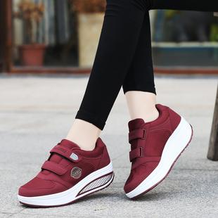 秋冬季中老年健步鞋女防滑软底妈妈运动鞋加绒老人棉鞋厚底摇摇鞋