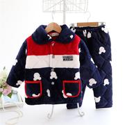 冬季儿童加厚夹棉法兰绒睡衣小男孩女童宝宝珊瑚绒保暖家居服套装