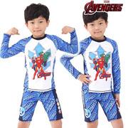 2016夏款 韩国进口 儿童男童钢铁侠防紫外线泳衣套装