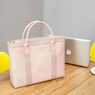 姬佧商务手提包尼龙布包女士公文包大容量资料袋单肩包电脑包