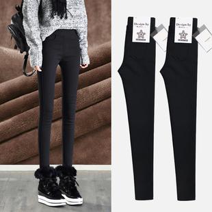 加绒加厚打底裤女外穿2018秋冬季保暖黑色小脚铅笔魔术棉裤子