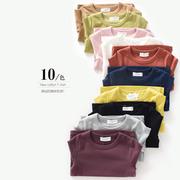 山东童装店 儿童纯棉打底衫 中大童长袖T恤 男童女童糖果色