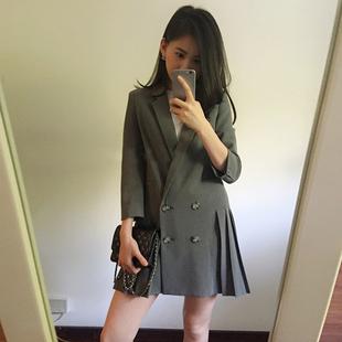 2017秋季时尚百搭显瘦中长款七分袖百褶下摆小西装外套女