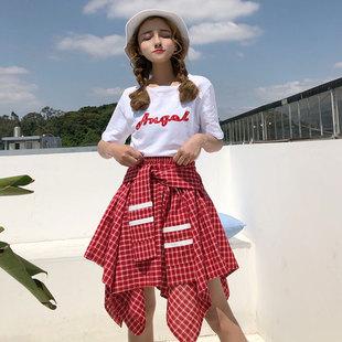 夏季港风bf宽松短袖T恤+不规则格子半身裙短裙两件套套装女学生潮