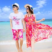 沙滩度假情侣装海边套装2019夏装蜜月结婚照男衣女吊带连衣裙